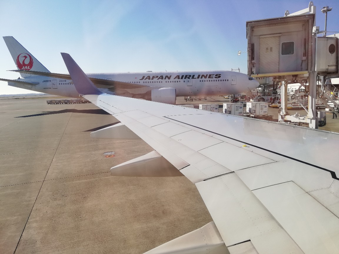 JAL機の機内窓から新千歳空港内を眺める